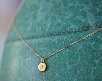 ONE Charm Tiny Initial Necklace in 14k Gold Vermeil, Christmas Gold Initial Necklace