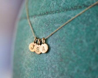 THREE Charm Tiny Initial Necklace - Personalized Gold Charm Original Tiny Initial Necklace - 14k Gold Vermeil Pendant