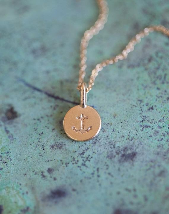 14k Gold Vermeil Tiny Anchor Necklace - Delicate Anchor Symbol Pendant - Matte Gold Anchor