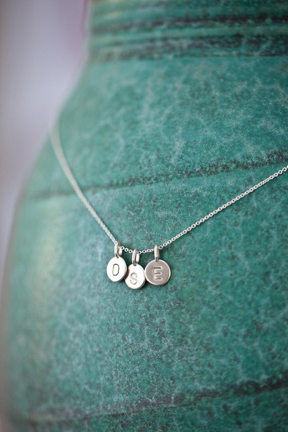 THREE Charms Tiny Initial Necklace in Sterling Silver