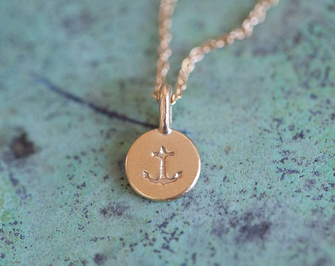 Free Shipping! 14k Gold Vermeil Tiny Anchor Necklace - Delicate Anchor Symbol Pendant - Matte Gold Anchor