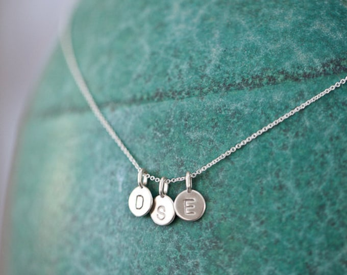 THREE Charm Tiny Initial Necklace - Sterling Silver Letters - Personalized Gift Necklace