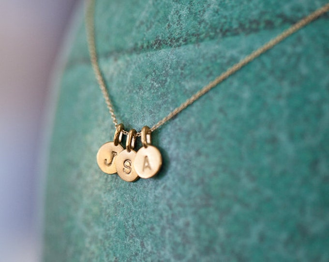 THREE Tiny Initial Charms Necklace in 14k Gold Vermeil - 3 Gold Letter Necklace - Personalized Gold Charm Necklace