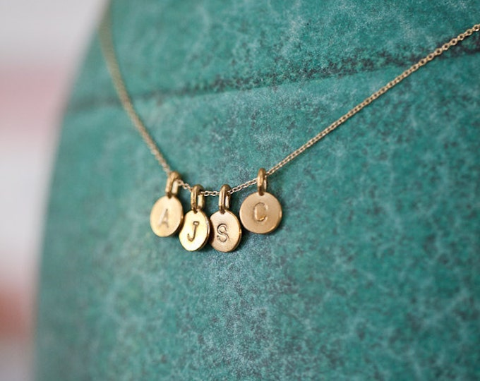 FOUR Charm 14k Gold Vermeil Initial Necklace, Personalized Charm Necklace, Original Small Monogram Gift Necklace
