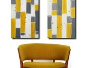 Linear. 2 piece abstract modern original canvas art. 24 X 36 each. LARGE. gray, mustard, yellow, white, funk up your interior