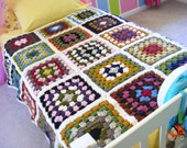 Twin or Full Size Crocheted Granny Square Crazy Quilt Afghan - Multi Color with Ivory Cream Trim