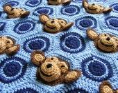 Email Crochet Baby Blanket PDF PATTERN - Baby Boy Feel and Learn Blanket, Stroller Blanket - Light Blue, Navy Blue Monkeys, Circles Pattern