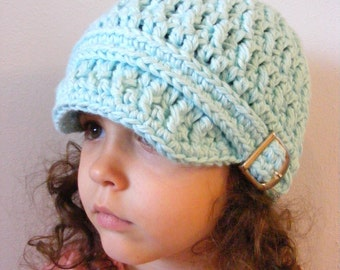 Toddler Girl Hat 2T to 4T Aqua Blue Toddler Hat Crochet Hat Knit like Cotton Hat Buckle Beanie Toddler Girl Clothes Spring Hat Fall Hat