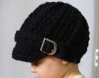 Toddler Hat 1T to 2T Toddler Girl Hat Toddler Boy Hat Crochet Hat Knit like Buckle Beanie Black Toddler Hat Winter Hat Toddler Clothing