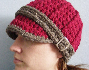 Red Womens Hat Cranberry Red Barnwood Brown Womans Hat Crochet Hat Knit like Buckle Beanie Womens Beanie Adult Beanie Adult Hat Winter Hat