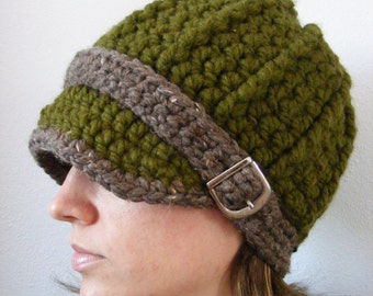 Womens Hat Olive Green Womens Hat Green Crochet Hat Knit like Winter Hat Buckle Beanie Army Green Barnwood Brown Fall Accessory Trendy Warm