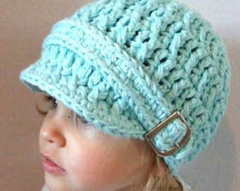 Toddler Girl Hat 1T to 2T Aqua Blue Toddler Hat Aqua Toddler Hat Toddler Girl Clothes Toddler Clothes Crochet Hat Silver Buckle Winter Hat