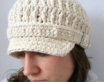 Womens Newsboy Hat Womens Hat Ecru Newsboy Cap Ecru Hat Off White Newsboy Off White Hat Crochet Newsboy Knit like Silver Buckle Winter Hat