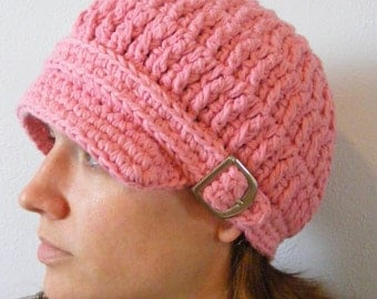 Womens Newsboy Hat Pink Newsboy Cap Crochet Newsboy Knit like Silver Buckle Womens Hat Womens Cap Pink Hat Pink Cap Cotton Newsboy Fall