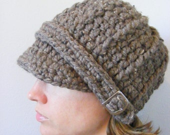 Womens Hat Womens Beanie Womens Cap Barnwood Brown Hat Barn Wood Crochet Hat Knit Beanie Silver Buckle Winter Hat Winter Accessory Warm Cozy