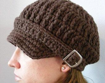 Womens Newsboy Cap Chocolate Brown Newsboy Hat Crochet Newsboy Silver Buckle Trendy Winter Hat Womens Hat Brown Hat Womens Cap Brown Cap