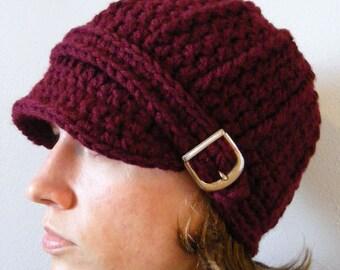 Womens Hat Womens Beanie Womens Cap Red Wine Hat Red Hat Red Beanie Wine Beanie Red Cap Wine Cap Crochet Winter Hat Knit Buckle Beanie
