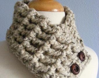 Womens Scarf Womens Scarflette Oatmeal Scarf Oatmeal Scarflette Crochet Scarf Crochet Scarflette Button Scarf Button Scarflette Button Cowl