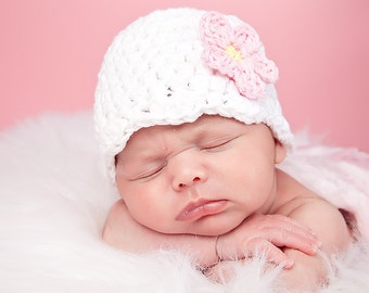 Baby Girl Hat 0 to 3 Month White Baby Hat Baby Girl Clothes Baby Girl Gift Hospital Hat Flower Hat Flapper Photo Prop Photography Prop