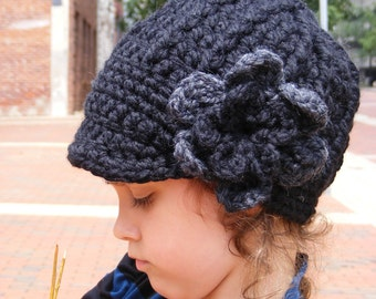Toddler Girl Hat 1T to 2T Black Toddler Hat Charcoal Gray Crochet Flower Hat Chunky Winter Hat Warm Knit Beanie Cozy Toddler Clothes