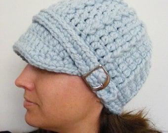 Sky Blue Womens Hat Womens Beanie Womens Cap Light Blue Hat Blue Beanie Blue Cap Crochet Hat Knit like Silver Buckle Beanie Warm Accessory