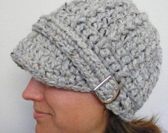 Womens Hat Womens Beanie Womens Cap Gray Marble Gray Hat Gray Beanie Gray Cap Silver Buckle Beanie Crochet Winter Hat Knit like Trendy Hat