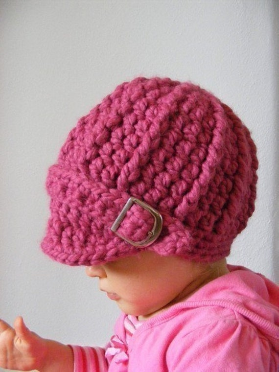 Baby Girl Hat 9 to 12 Month Raspberry Pink Baby Hat Baby Girl Clothes Baby Girl Beanie Baby Beanie Chunky Crochet Winter Hat Silver Buckle