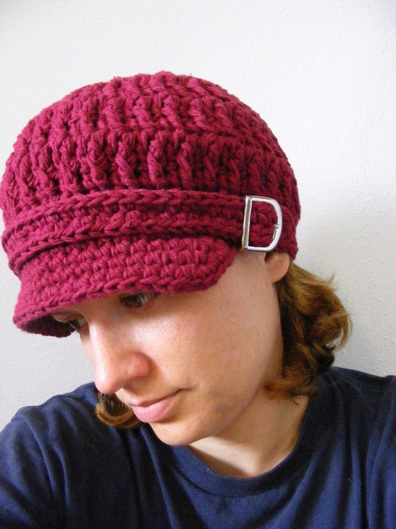 Womens Newsboy Hat Red Wine Newsboy Cap Red Newsboy Crochet Newsboy Knit like Womens Hat Adult Hat with Buckle Bordeaux Burgundy Winter Hat