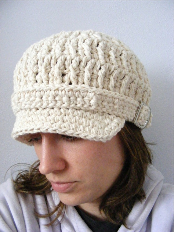 Womens Newsboy Hat Womens Hat Ecru Newsboy Cap Ecru Hat Off White Newsboy Off White Hat Crochet Newsboy Knit like Silver Buckle Winter Hat