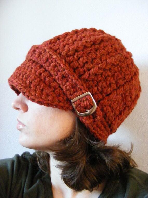 Womens Hat Womens Fall Hat Womens Autumn Hat Pumpkin Spice Chunky Crochet Winter Hat Knit Buckle Beanie Orange Hat Womens Beanie Womens Cap
