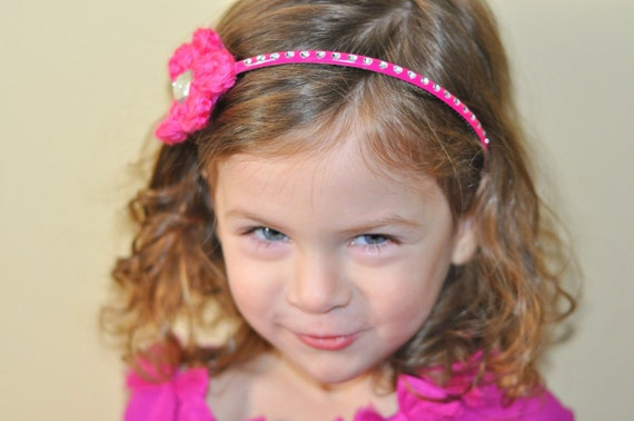 Hot Pink Headband Crochet Flower Headband Rhinestone Headband Plastic Headband Bright Pink Headband Electric Pink Toddler Girl Headband