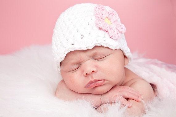 Newborn Hat Girl Newborn Baby Girl Hat White Baby Hat Baby Girl Clothes Baby Girl Gift Baby Shower Present Baby Cap Hospital Hat Pink Flower