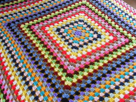 Crocheted Granny Square Crazy Quilt By Twoseasidebabes On Etsy