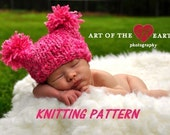 Chunky Jester Pompom Baby Hat Knitting Pattern, PDF Number 110, INSTANT DOWNLOAD -- Permission to sell hats --  Over 16,000 patterns sold