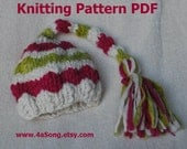 Long Tail Striped Baby Hat Knitting Pattern, PDF Number 306-307 -- for Thick Thin Slub Merino Hand Dyed Yarn -- Over 10,000 patterns sold