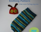 Caterpillar Baby Cocoon and Hat Knitting Pattern in Plain English, PDF 128 -- INSTANT DOWNLOAD  -- Over 35,000 patterns sold
