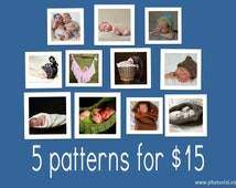 """5 Baby Photo Prop Knitting Patterns for 15 Dollars -- Special """"Buy-the-Book"""" Deal, Choosing from ANY of my patterns"""