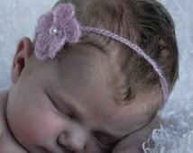 Soft Pink Baby Photo Prop Headband -- Hand Crocheted with Fine Mohair-Acrylic Yarn