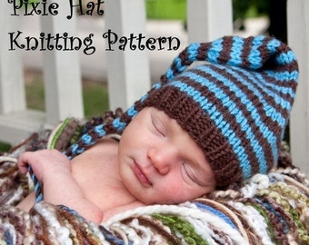Long Tail Pixie Baby Hat Knitting Pattern in 3 Sizes, PDF 109, INSTANT DOWNLOAD -- Permission to sell hats - Over 16,000 patterns sold
