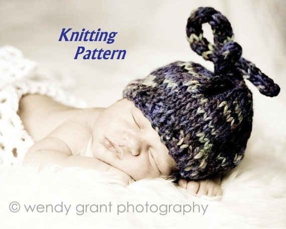 Knitting Pattern Numbers : KNITTING PATTERN Number 105 Newborn Top Knot Hat Great by 4aSong