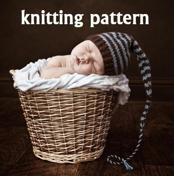 Knitting Pattern For Baby Elf Hat : KNITTING PATTERN Number 109 Striped Pixie Baby Hat for