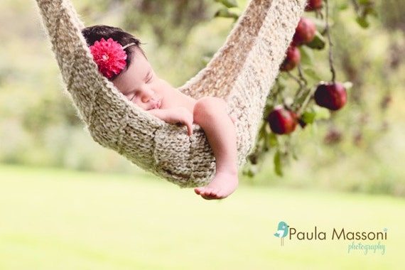 Tan Hand Knit Baby Hammock -- Newborn Photo Prop  -- Click to see other colors available -- Over 800 Hammocks Sold -- Original Designer