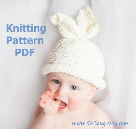 Knitting Pattern For Baby Rabbit Hat : Items similar to Baby Bunny Hat and Carrot Knitting ...