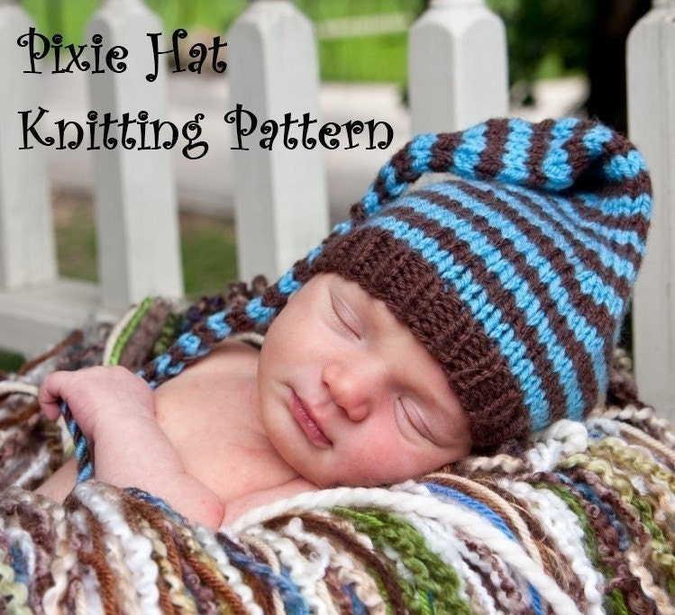 Knitting Patterns For Long Hats : Long Tail Pixie Baby Hat Knitting Pattern in 3 Sizes PDF 109