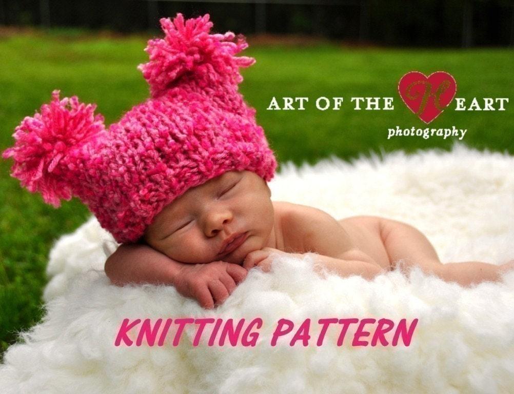 Chunky Jester Pompom Baby Hat Knitting Pattern PDF Number