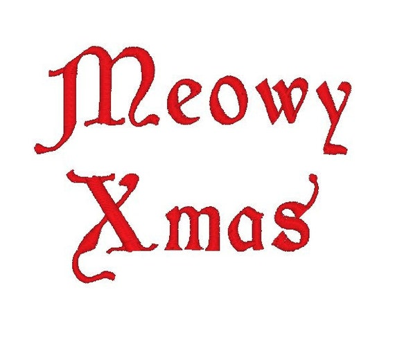 Meowy Xmas CAT Embroidery Designs Set/8 incl Paws, Oval Applique