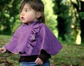 Ruffle cape in Purple wool Herringbone