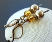 Swarovski Crystal and Brass Dangle Earrings