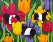 Cow Art tulips Belted galloways belties  yellow red violet Folk Art Signed Matted Fine Art Print