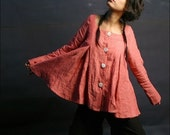 Pearl linen shirt (light coral) Y1001